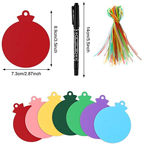 120 Pieces Round Bauble Hanging Tags Christmas Tree Blank