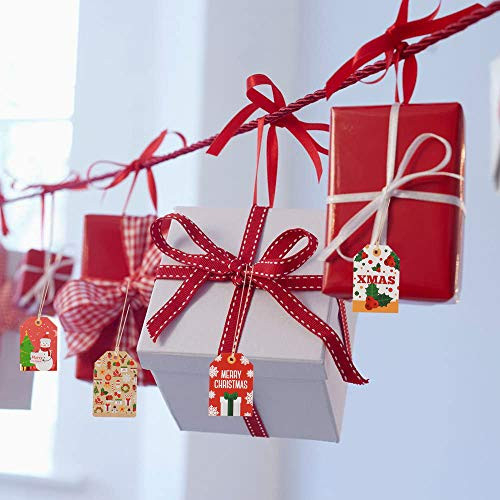 144 Pack Christmas Paper Gift Tags, Pre-Punched Xmas Paper