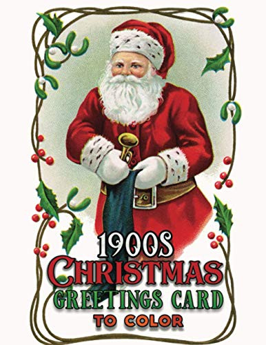 1900s christmas greetings card to color A Vintage Grayscale