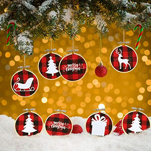 24 Pieces Christmas Embroidery Hoop Kit Christmas Ornament