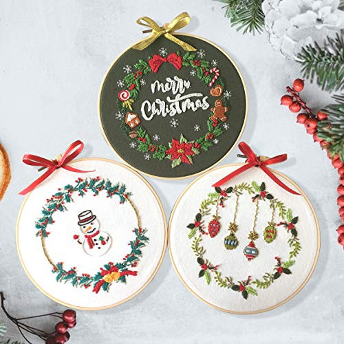 3 Sets Embroidery Starter Kit with Christmas Pattern,Cross