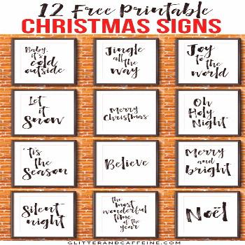 12 free printable Christmas signs. Cheap and inexpensive way to decorate for Christmas and bring so