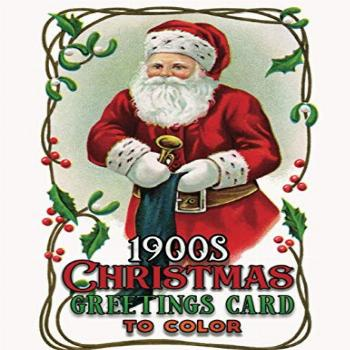 1900s christmas greetings card to color: A Vintage Grayscale