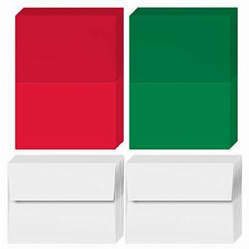 2022 Holiday Christmas Greeting Cards - 25 Red & 25 Green