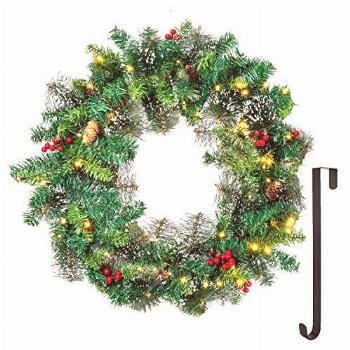 """24"""" Snow Flocked Christmas Wreath with 15"""" Hanger,"""
