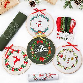 4 pcs of Christmas Embroidery kit with Patterns and