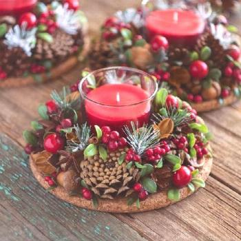 50+ Holiday Red Candlestick Art Design Ideas -  50+ Holiday Red Candlestick Art Design Ideas; Table