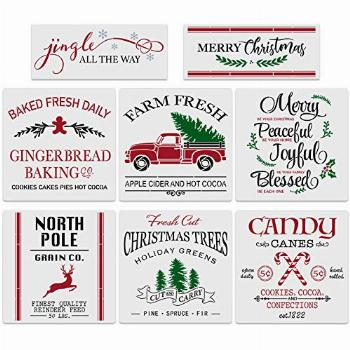 8Pcs Large Christmas Stencils-12x12 Inches Reusable Merry