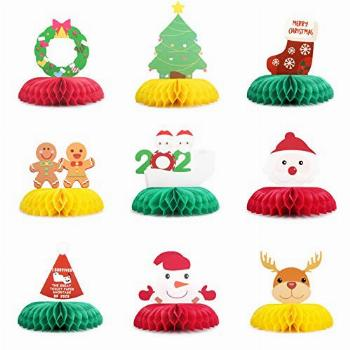 9 Pieces Honeycomb Christmas Centerpieces Table Decorations
