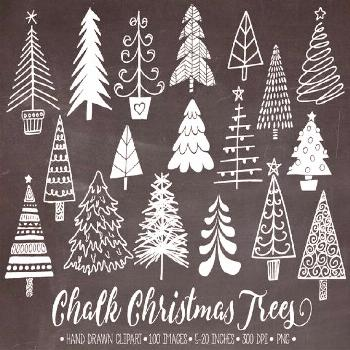 Chalkboard Christmas Tree Clip Art. Hand Drawn Chalk Christmas Illustrations. White Doodle Winter C