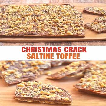 Christmas Crack made with crackers, chocolate, toffee, and walnuts. Crunchy, buttery, and seriously