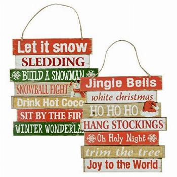 Christmas Decor Sign - Winter Hanging Wood Signs - Let it