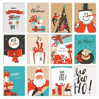 Christmas Holiday Greeting Card Set, 100 Pack, 4 x 6 Inch,
