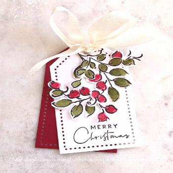 Christmas tag with berries Marybeth's time for paper