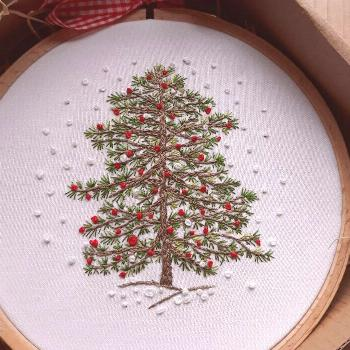 Christmas Tree Hand Embroidery Kit Winter Christmas | Etsy