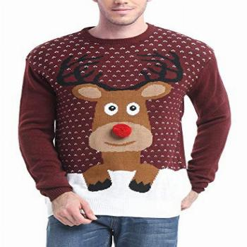 Daisyboutique Men's Christmas Reindeer Sweater Cute Ugly