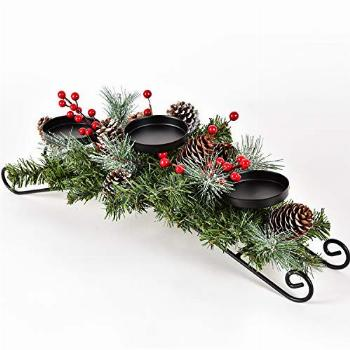 DearHouse Christmas Candle Holder Centerpiece, Pine Cones