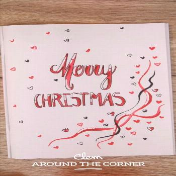 DIY do it yourself carte de voeux love coeur merry christmas greeting card pour Noël bujo cover bu