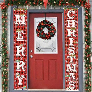 FECEDY Merry Christmas Hanging Banner Porch Sign with
