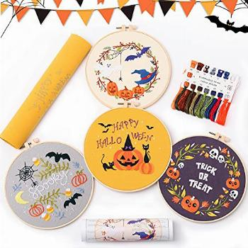 Halloween 4 pcs of Christmas Embroidery kit with Patterns