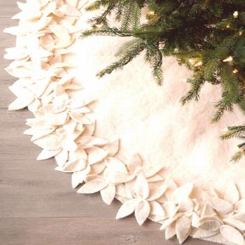 Hand Felted Wool Christmas Tree Skirt - Overlapping Flowers Border in Cream - 60