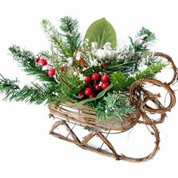 Idyllic Christmas Centerpiece Sleigh Mixed Pine and Red