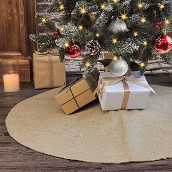 Ivenf Christmas Tree Skirt, 36 inches Burlap Double-Layer