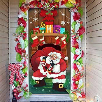 Joiedomi Christmas Santa with Gifts Window Door Cover