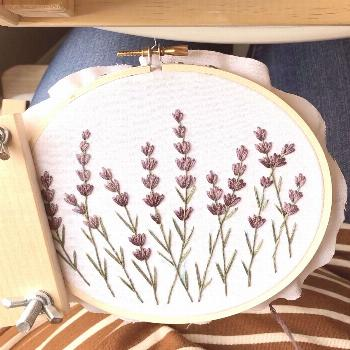 Lavender embroidery  Cross stitch lavender, lavender embroidery, lavender flowers needlepoint, hand