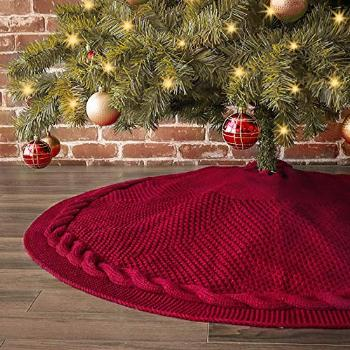 LimBridge Christmas Tree Skirt, 48 inches Cable Knit Knitted