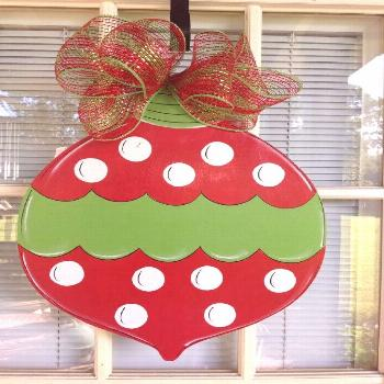 Personalized Christmas Ball for your door.    Hand Cut and Painted by Me.    Measures 21 by 14.25 i