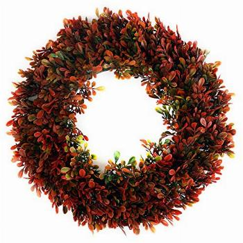 Red Boxwood Wreath - Sunnysdady 16 inches Artificial Front