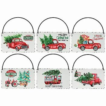 Rustic Red Truck Christmas Ornaments Set of 6,Farmhouse
