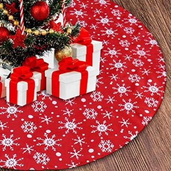 Senneny 48 Inch Christmas Tree Skirt - Red and White