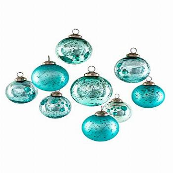 Serene Spaces Living Set of 9 Assorted Teal Glass Ball