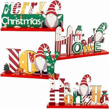 Set of 4 Christmas Gnome Wooden Centerpiece Sign- Merry