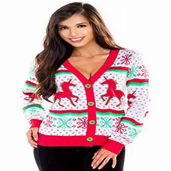 Tipsy Elves White Ugly Christmas Sweater Cardigan for Women