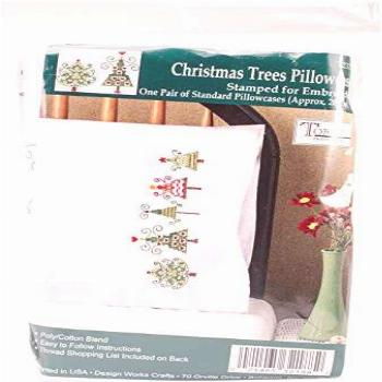 Tobin Stamped Pillowcases, Christmas Trees, 20