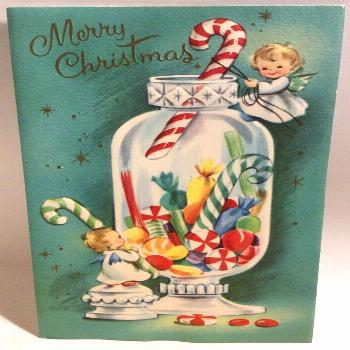 Two Sweet Angels Candy Apothecary Jar 1950's Vintage ... christmas greeting cards  christmas greeti