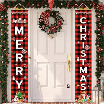 Unves Merry Christmas Banner for Home - Christmas Porch Sign