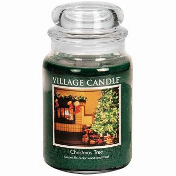 Village Candle Christmas Tree Large Glass Apothecary Jar