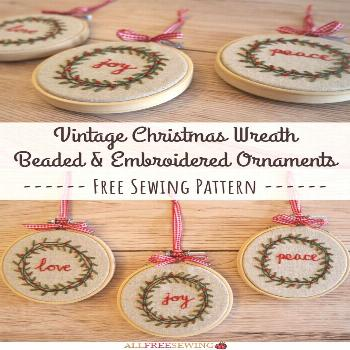 Vintage Christmas Wreath Beaded & Embroidered Ornaments Vintage Wreath Beaded & Embroidered Ornamen