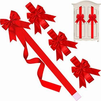 WILLBOND Christmas Cabinet Ribbons Bows Large Christmas Door