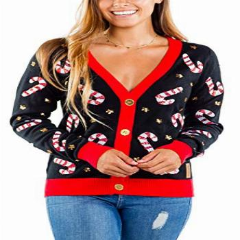 Women's Sequin Candy Cane Cardigan - Cute Candy Cane