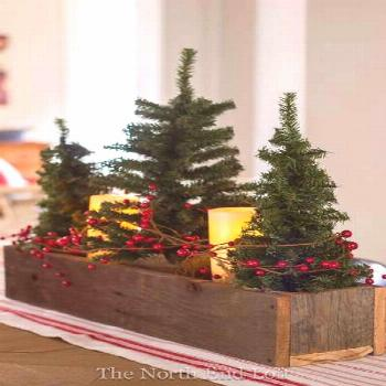 Wood Container Mini Christmas Tree Centerpiece