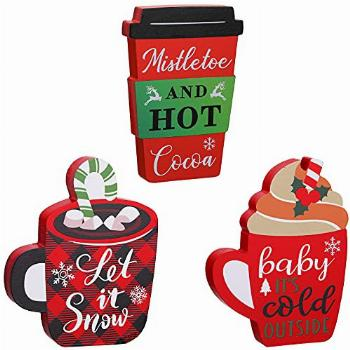 Yerliker 3 Pieces Christmas Wooden Block Signs Xmas Coffee