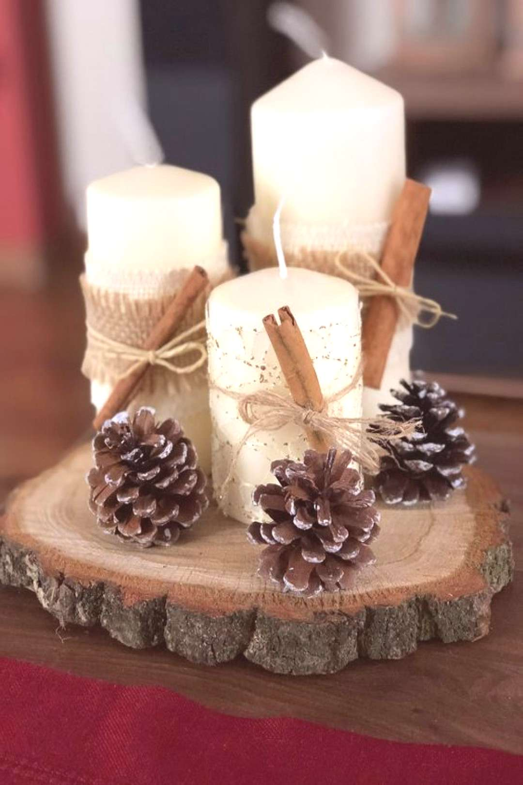 70+ Simple And Popular Christmas Decorations Table Decorations Christmas Candles DIY Christmas C