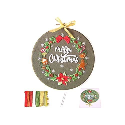Actume Christmas Embroidery Starter Kit with Pattern and