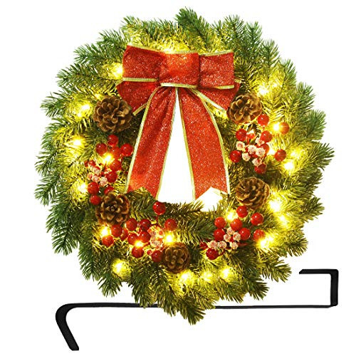 ATDAWN 16 Inch Christmas Wreath, Outdoor Lighted Christmas