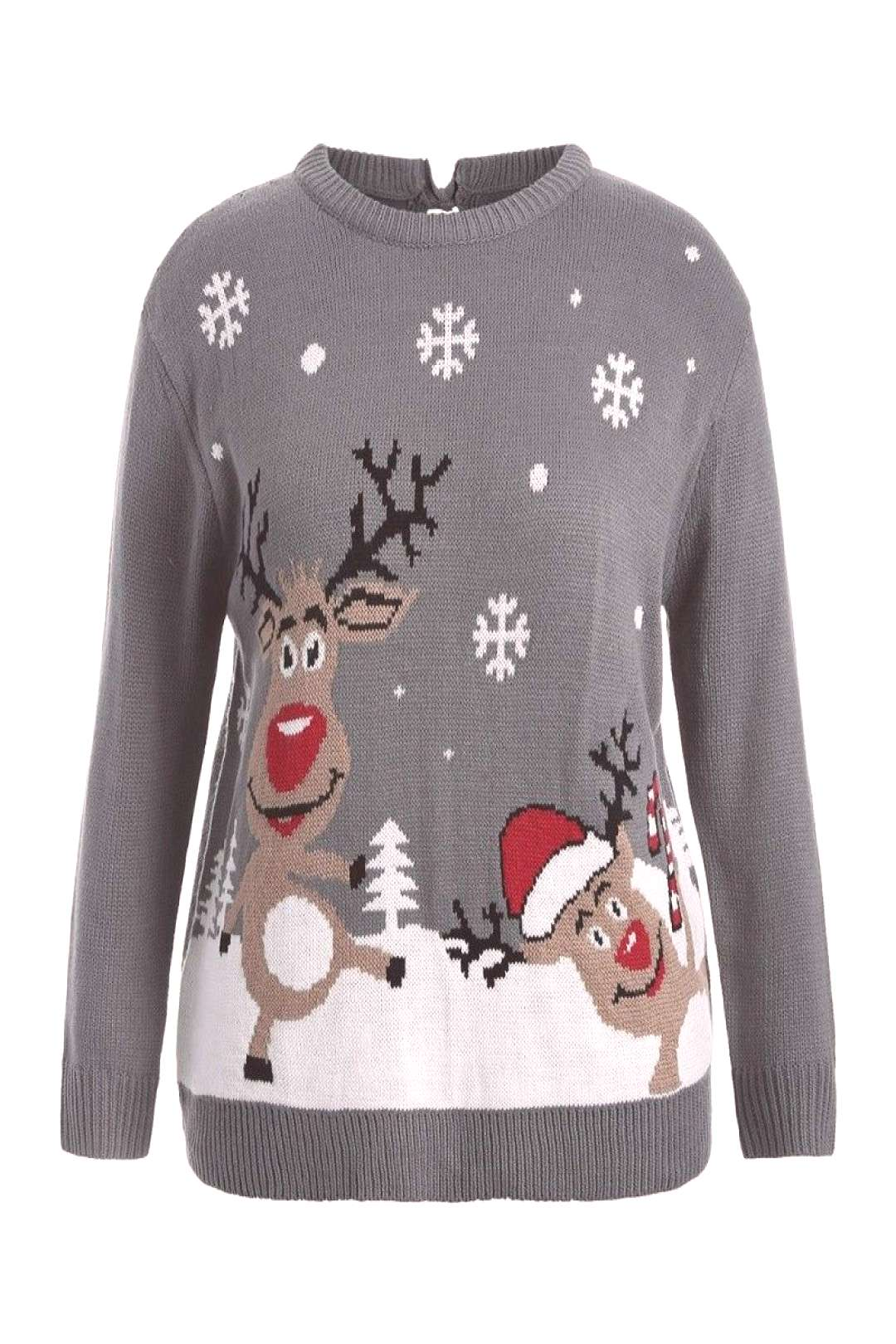 Back Bowknot Snowflake Cartoon Pattern Christmas Sweater - Gray - 3O11659713 - Original Design-Wome